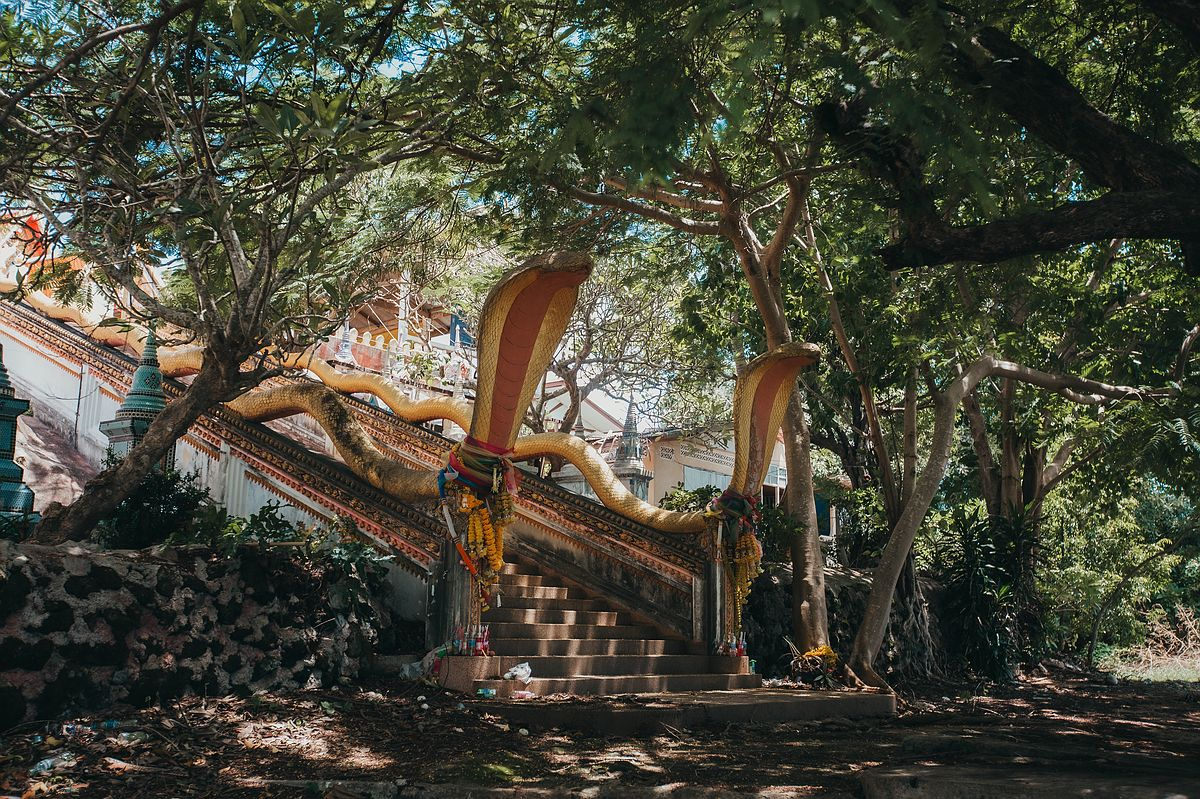 Zwei große goldene Kobra Schlangenköpfe bewachen den Aufgang zum Wat Sila Ngu