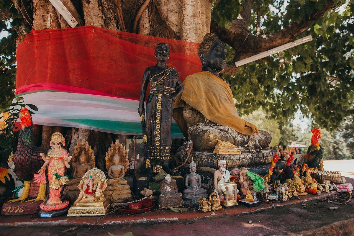 Der Geisterbaum des Wat Sila Ngu mit vielen kleinen Statuen und einer Buddha Figur